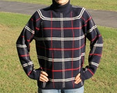 Sweater Turtleneck  Plaid Fancy Style Yo