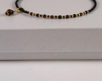 7.5 Inch Minimalist Bracelet - Gemstone Layering Bracelet - Delicate Stackable - Friendship - Trendy Boho - Tiny Bead Bracelet - Black Brown