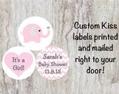 "PRINTED 108 Baby Shower Candy Kiss Stickers 3/4"" Labels - Pink & Gray (Grey) Elephant with Chevron Ears Party Favors  *DISCOUNTS AVAILABLE*"