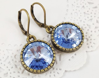 Light Blue Earrings - Swarovski Crystal Light Sapphire Antique Bronze Leverback Earrings Under 20 - Christmas Gift, Mother's Day Gift