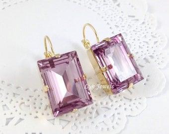 LIGHT AMETHYST Earrings // Light Purple Swarovski Crystal Rectangle Earrings // Emerald Cut June Birthstone Earrings