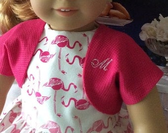 American Made 18 Inch Girl Doll Clothing-Pink Flamingos Dress and Jacket Fifties Fashion