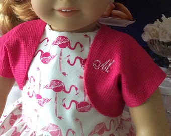 18 Inch Custom Couture Doll Clothing-Pink Flamingos Dress and Jacket Fifties Fashion