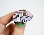 Camper Enamel Pin - Retro Pin - Vintage Camper - Caravan - Lapel Pin - Pin Badge - Bunting Pin - Hard Enamel Pin - Pastel Pin - Camping