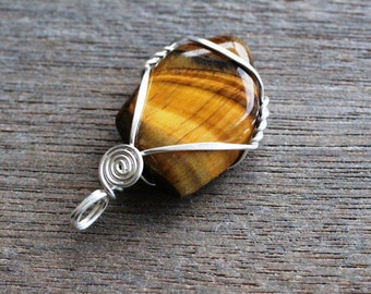 Tiger Eye Wire Wrapped Pendant #6015