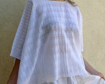 "SALE Guatemalan Collectors handwoven gauze 3 panel Huipil blouse white Little People pattern resort boho beach top 41""W x 23""L"