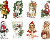 """Large Stickers (each sticker 2.5""""x3.5"""", pack 8 stickers) Scrapbooking Craft Vintage # Children Ready For Christmas FLONZ 310"""