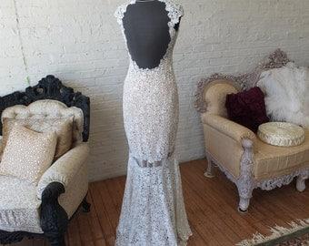 SALE Lavish lace wedding dress fit n flare backless wedding dress