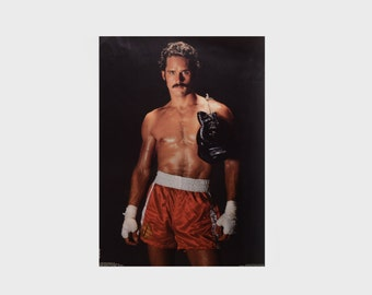 vintage 80s boxer poster 1982 Catalina Marc Raboy Gregory Harrison The Fighter homoerotic gay theme 20x28 nude male mustache
