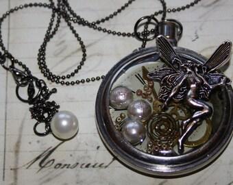 Captured Fairy Pocket Watch Necklace, Pendant