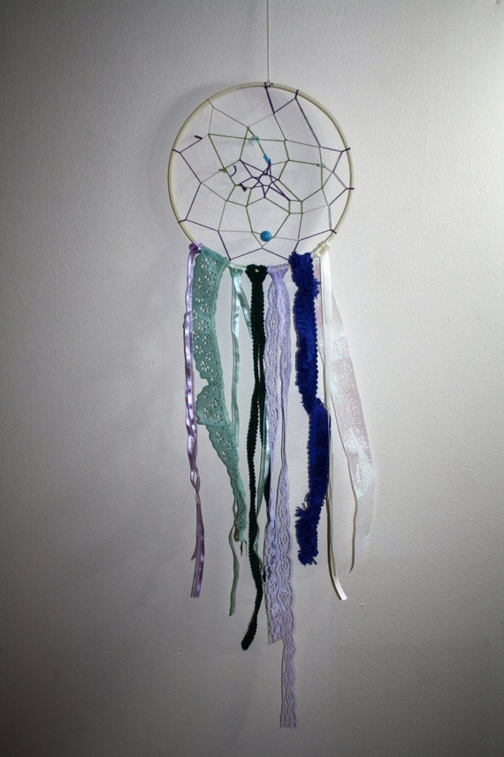 Small dream catcher embroidery hoop upcycled ribbons lace