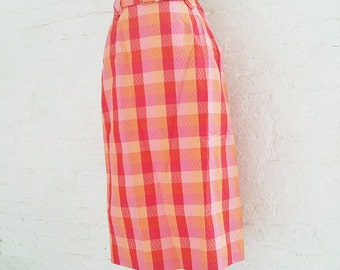 1950s Red Plaid Pencil Skirt 50s Vintage Cotton Pink Tartan High Waist School Girl Small Multicolor Rockabilly Westwood Style Straight Skirt