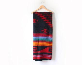 Vintage maroon southwestern blanket // saddle blanket // tribal aztec navajo // red black Pendleton style blanket // christmas aztec blanket