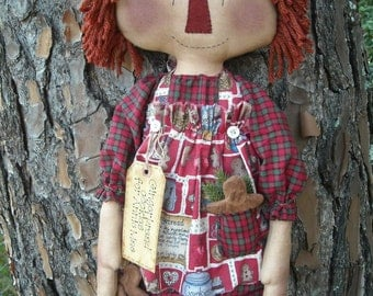Primitive Raggedy Annie E Pattern Instant Download
