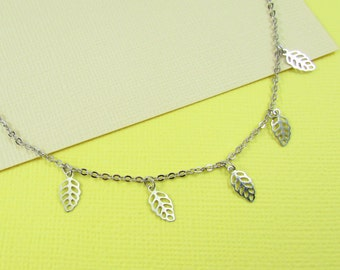 Silver Boho Chic Leaf Necklace - Bohemian Jewellery, Silver Jewellery, Friendship Necklace, Bridesmaid Jewellery, Gifts for her,  Trending