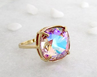 Rainbow Crystal Solitaire Rings - Gold Ring, Crystal Jewellery, Gifts for her, Statement Ring, Rose Ring, Unique Ring, Bold Ring, Swarovski