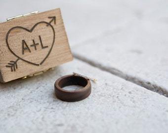 Rustic Ring Box Engraved Wood Ring Box Heart and Arrow Ring Box Small Ring Box Rustic Wedding Country Wedding Ring Box #DownInTheBoondocks