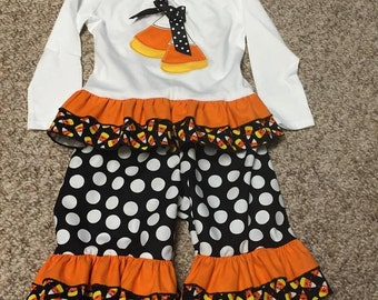 Candy Corn double ruffle long sleeve boutique outfit