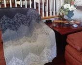 Ready-Made Knit Afghan---------------- GREY CHEVRON