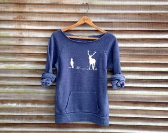 just grazing Deer Sweatshirt, Deer Sweater, Elk Sweater, Cozy Sweater, S,M,L,XL