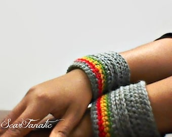 MADE TO ORDER Heather Grey Wrist Warmers/ Arm Cuffs with Rasta Strips Red Gold Green