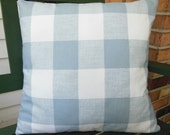 Blue White Buffalo Check Pillow Throw Pillow COVER Soft Slate Blue Couch Pillow Shabby Chic Bedding Nursery Pillow ALL SIZES One or More