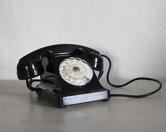 French Antique Black Rotary Telephone Bakelite  Paris Apartment Mother in Law Listener