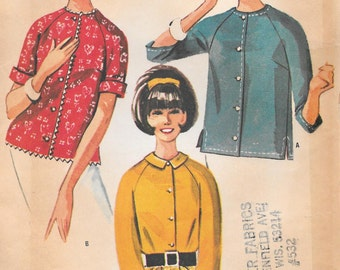 Bust 36- 1964 Misses' Blouse Size 16 McCall's 7258