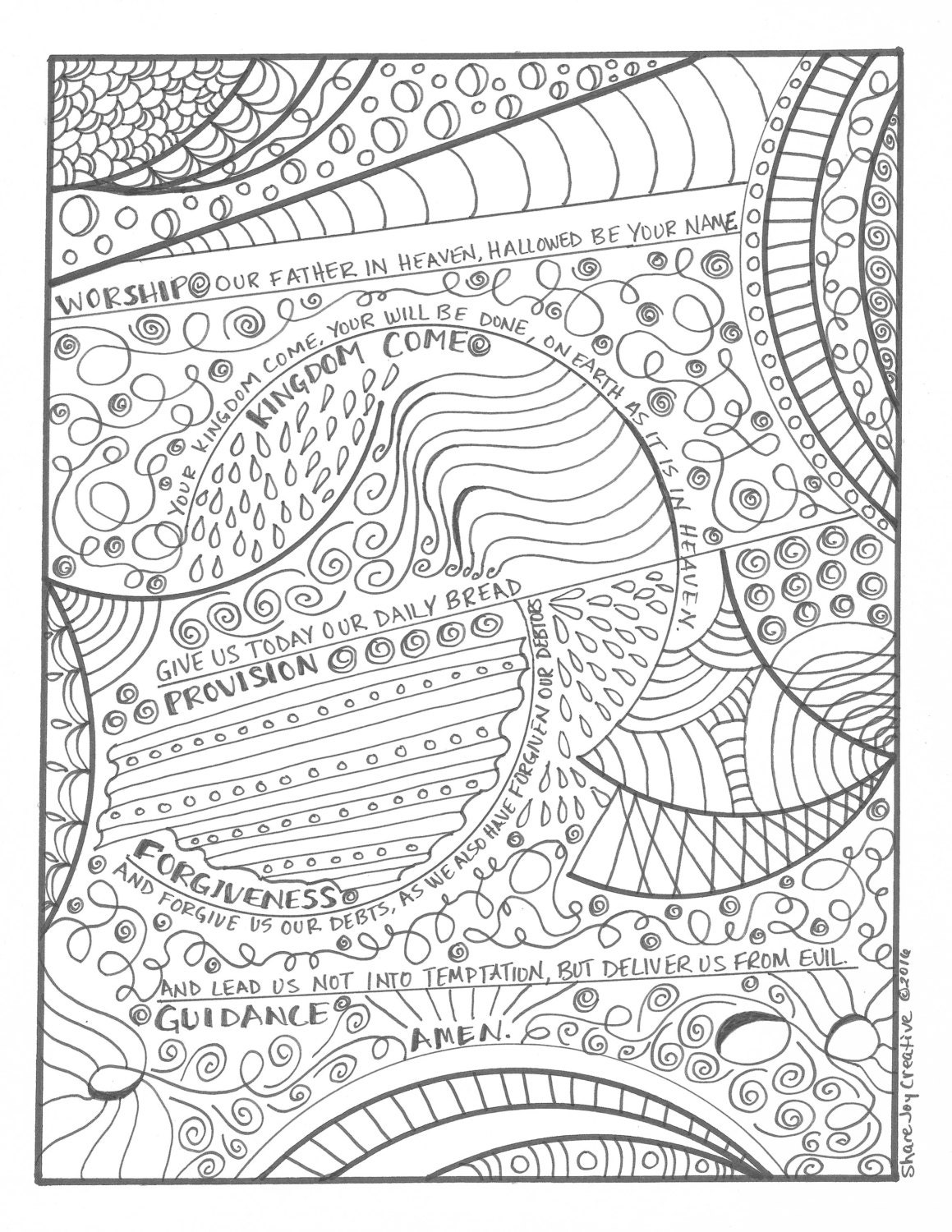 loyalty coloring pages - the lord 39 s prayer coloring page