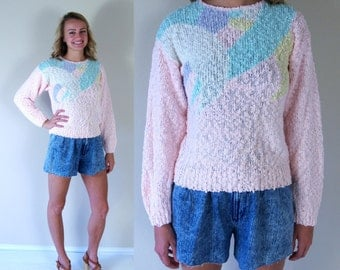 vtg 80s PASTEL abstract print KNIT SWEATER metallic Sm/Med retro indie boho slouchy