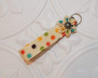 Fabric Key Fob - Key Fob -  Fabric Key Chain - Keychain - Multi Colored Polka Dots