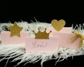 20 Pink and Gold Party Decorations / Name Place Cards / First Birthday Party Princess Party / Escort Cards / Pick your Accent