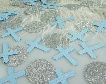 Cross Confetti Baptism Decoration - Christening First Communion Table Decoration - Silver and Light Blue or Gold and Light Blue - 100pcs
