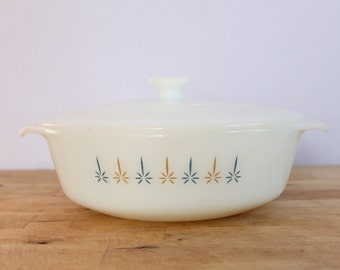Vintage 1960's Fire King Candle Glow Covered Round Casserole