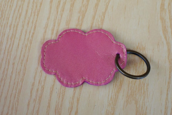 Leather keychain, leather keyring,cloud keychain, heart keyring,cloud heart keychain,pink cloud keyring,pink keychain, cloud shape