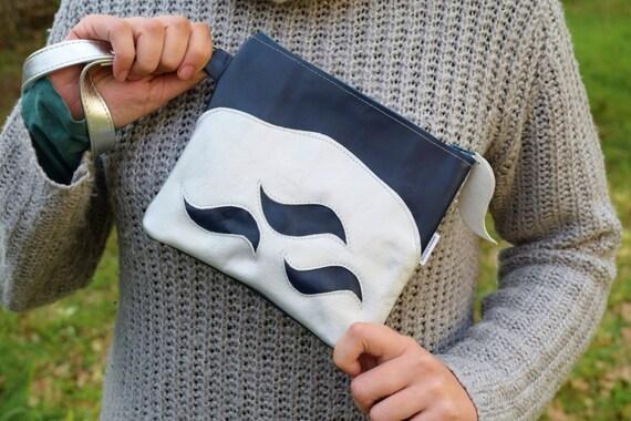 Leather clutch,leather handbag,waves bag,makeup bag,blue clutch,silver leather,silver bag,small leather bag,leather pouch,silver purse