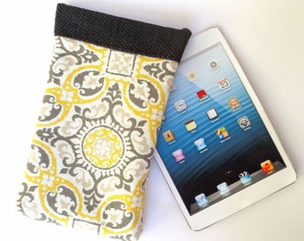 Royal Yellow and Grey Tablet Sleeve with Fleur di Lis and Black Fleece Lining, fits iPad Mini, 7 inch Kindle, Nook Color, LG G Pad, Nexus 7