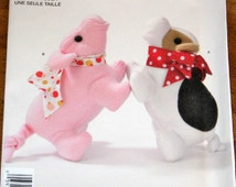 Simplicity 2101 Pig and Dog Plushies, Stuffed Plush Dolls, Fleece Stuffies, Soft Cuddle Toys, Easy Craft Sewing Pattern Uncut Factory Folds