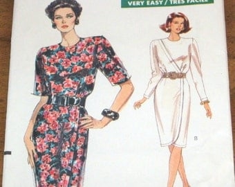 Vogue 7687 Surplice Dress Slim Wrap Skirt Womens Misses Vintage 1980s Very Easy Sewing Pattern Size 6 8 10 Bust 30 31 32 Uncut Factory Folds