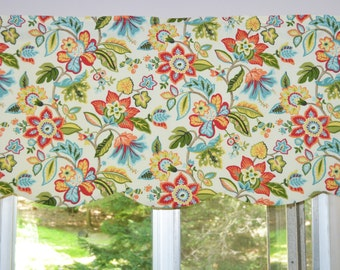 Kitchen Valance . Waverly Wonderama Toucan . Scalloped Valance . Fully Lined. Colorful Flowers on Cream . Handmade by Seams Original
