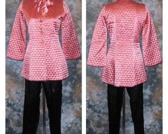 50s Lounge Wear Pink Loungewear Pink Quilted Jacket Black Satin Pants 1950s Pink Black Suit Lounging Pajamas Pink Black Loungewear
