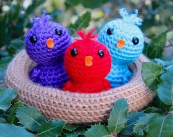 Crochet pattern - baby birds in a nest by Tremendu - amigurumi crochet toy, PDF digital pattern