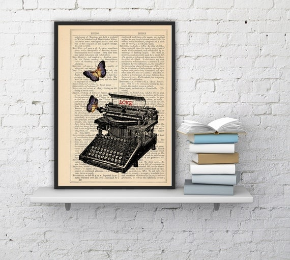 Spring Sale Book page art- Lovers typewritter with butterflies customizable book print BPBB092