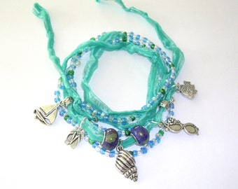Beach Boho Wrap Bracelet - Beaded Ribbon Wrap Charm Anklet - Beach Wrap Bohemian Jewelry - Gypsy Wrap Ankle Bracelet -