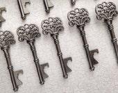"Skeleton Key BOTTLE OPENERS – Set of 75 – Gunmetal Black – 3"" Long (76mm) –Vintage Style - Create Your Own Wedding Favors! Ships from USA."