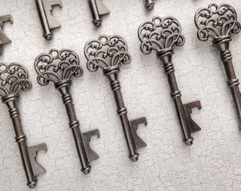 "Skeleton Key BOTTLE OPENERS – Set of 75 – Gunmetal Black – 3"" Long (76mm) –Vintage Style - Create Your Own Wedding Favors! Ships from USA."