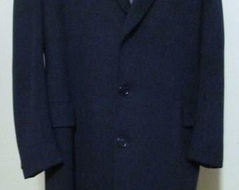 Vintage MOORES Mens CASHMERE-WOOL Overcoat, Size 44 Tall, Winter Dress Coat, Dark Navy Blue Dress Coat, Full Length Overcoat, Excellent Cond