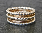 Silver and gold stackable ring SET, sterling silver stacking rings, serendipity handcraft jewelry