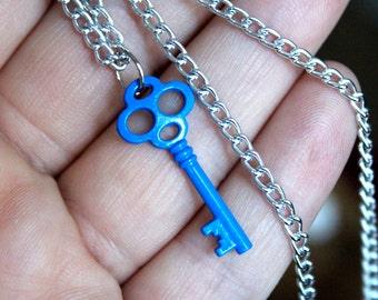Blue Key Necklace - Skeleton Key - Vintage Style Key