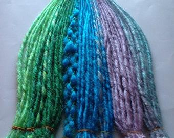 110 Count Dread Set Pastel Purple Green Blue SE Single or DE Double Ended Braid Dreadlock Hair Extensions or Dread Falls